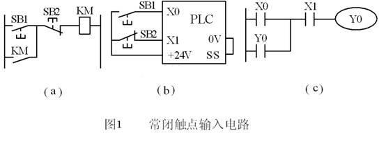 PLC技术培训-PLC常闭触点输入信号处理的电路图及PLC梯形图